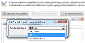 A Kapcsolat hozzáadása párbeszédpanel, ahol adatforrástípust választhat. Jelen esetben a típus az SQL Server, mellyel SQL Azure-adatbázishoz lehet csatlakozni.