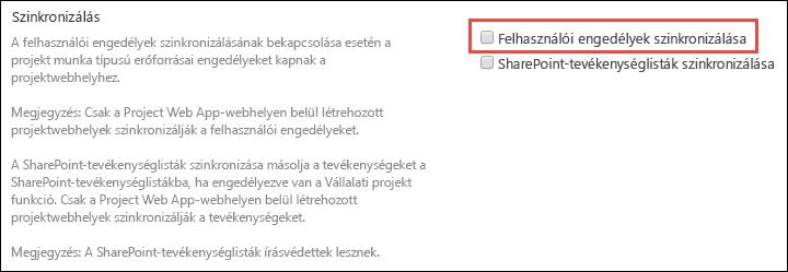 Felhasználó engedélyeinek szinkronizálása