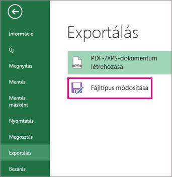 A Fájltípus módosítása parancs az Exportálás lapon
