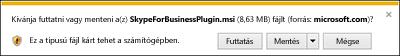 Válassza a böngészőablak alján lévő Futtatás parancsot a Skype Vállalati webalkalmazás beépülő modul telepítéséhez