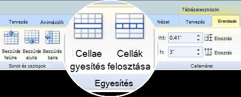Táblázat cellák felosztása és egyesítése
