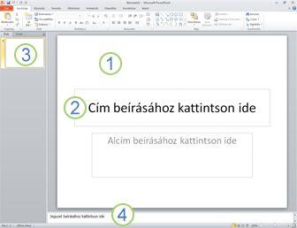 A PowerPoint 2010 munkaterülete Normál nézetben