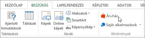 Képernyőkép egy meg az áruház képernyőt mutató kurzor és az Excel menüszalagján a Beszúrás lap egy része. Kattintson a tár nyissa meg az Office áruházat, és keresse meg az Excel-bővítmények.
