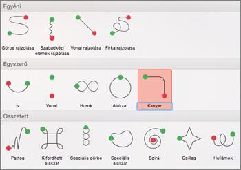Útvonal-animáció alkalmazása az Animációk lapon