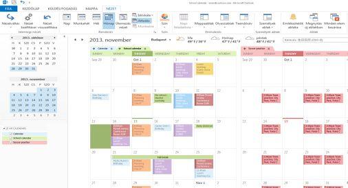 Példa egymás melletti és átfedéses elrendezésű naptárakra