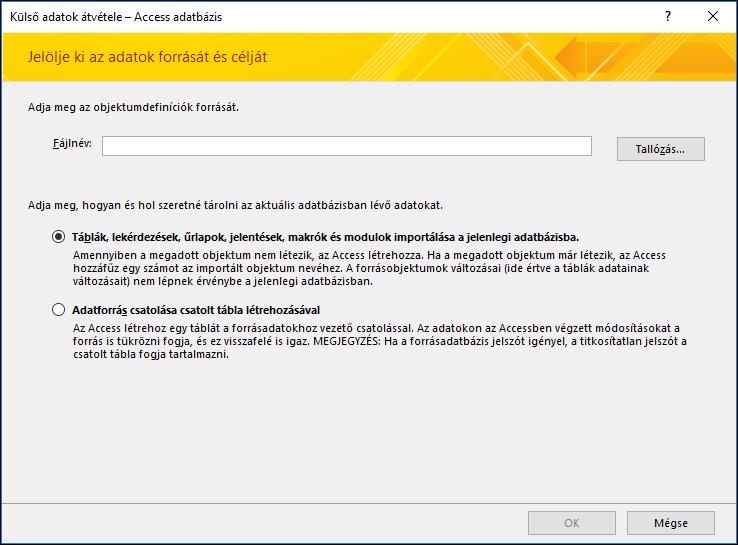 Képernyőkép a Külső adatok átvétele – Access-adatbázis importálási varázslóról