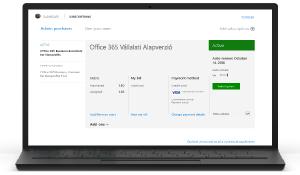 Képernyőkép az Office 365 Felügyeleti központ előfizetés-kezelő lapjáról