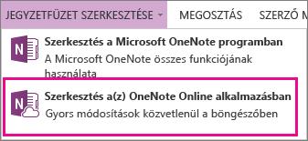 Jegyzetfüzet szerkesztése a OneNote Online-ban