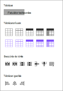 Táblázat beállításainak beszúrása