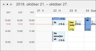 Három időzónát megjelenítő naptár