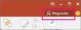 A Megosztás gomb a PowerPoint menüszalagján.