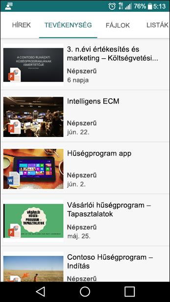 SharePoint-csoportwebhely mobilnézete
