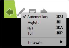 A képernyőképen a mutatót egy diavetítésben használt lehetőségeket. A következők automatikus, rejtett, nyíl, toll vagy Tintaszín.