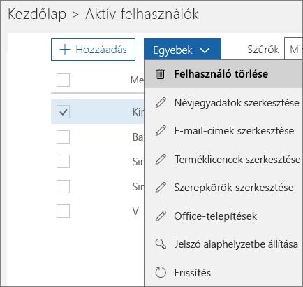 Felhasználó törlése az Office 365 Felügyeleti központban