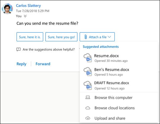 Javasolt fájlok csatolása az Outlookban.