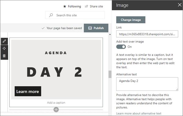 Minta kép kijelző bemenet a modern workshop webhelyhez a SharePoint Online-ban
