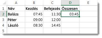Eltelt idő meghatározása két időpont különbségével