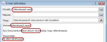 Keresések beszúrásának lehetséges helyei egy e-mailben