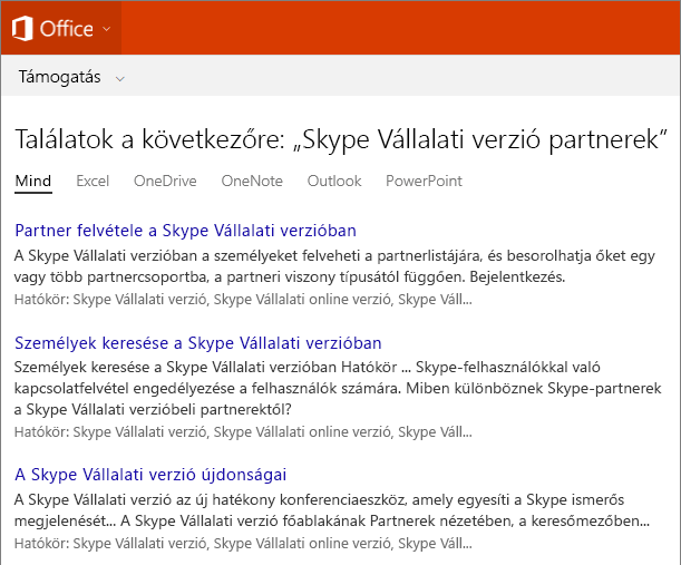 Képernyőkép a Skype Vállalati verziós partnerek találatairól az Office terméktámogatási webhelyén