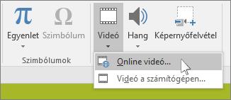 Online videó beszúrására szolgáló gomb a PowerPoint menüszalagján