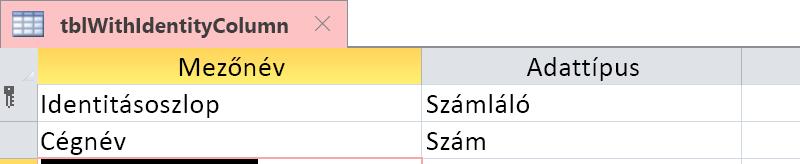 Jelenítse meg, hogy az identitásoszlop számláló mezőként azonosítva