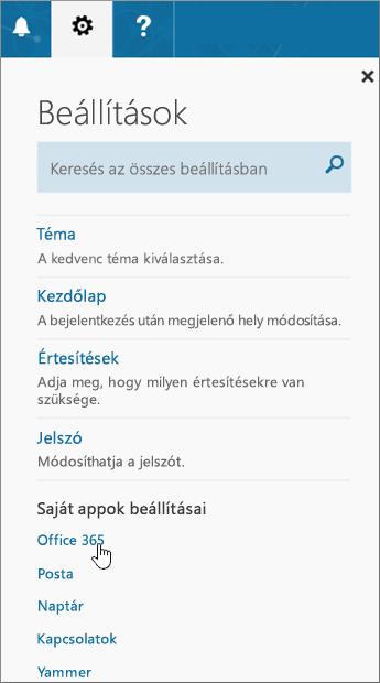 Office365-beállítások ablaktáblája