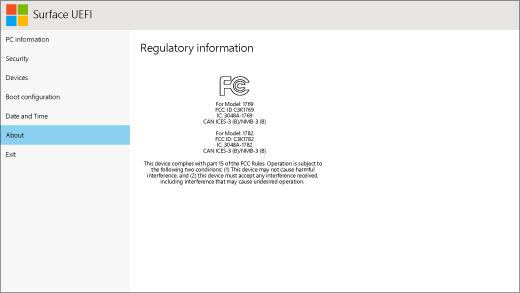A Surface UEFI about képernyője