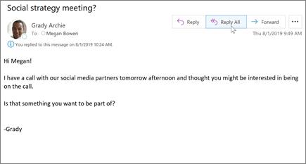 Válasz küldése e-mailbe az Outlookban