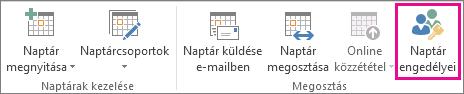 Naptár engedélyei gomb az Outlook 2013 Kezdőlap lapján