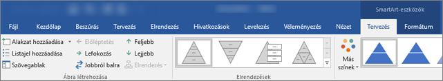 SmartArt-eszközök, tervezés és formátum lapja
