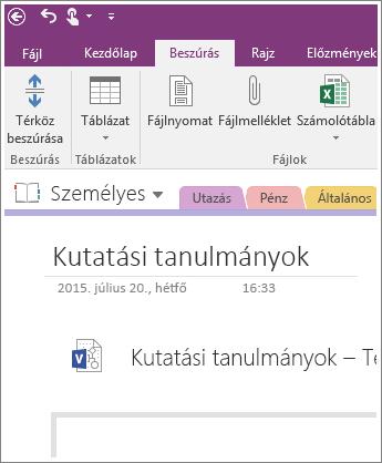 Képernyőkép arról, hogy miként szúrhat be új Visio-diagramot a OneNote 2016-ban.
