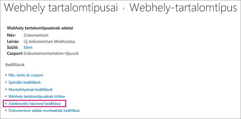 Webhelytartalom-típus beállítási lapjának Adatkezelési házirend hivatkozása