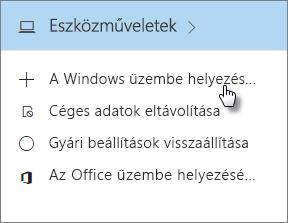 """Az Eszközműveletek kártyán válassza """"A Windows üzembe helyezése az AutoPilottal"""" lehetőséget."""