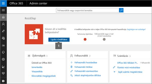 Kattintson a Telepítő elemre az Office 365 felügyeleti lapján