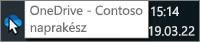 Képernyőkép, amelyen a tálcán található kék OneDrive ikonra mutat a kurzor, a OneDrive – Contoso szöveggel