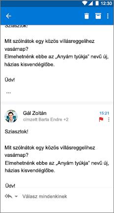 E-mail-üzenet 3 ponttal egymás után függőlegesen a jobb oldalon