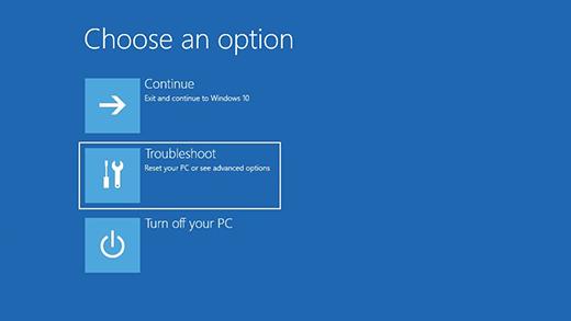 Válasszon egy lehetőséget képernyő a Windows helyreállítási környezetben