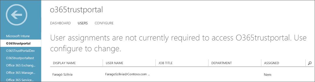 Az Azure AD felülete szolgáltatásmegbízhatósági felhasználólistával.