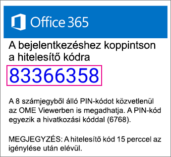 OME Viewer PIN-kód e-mailben