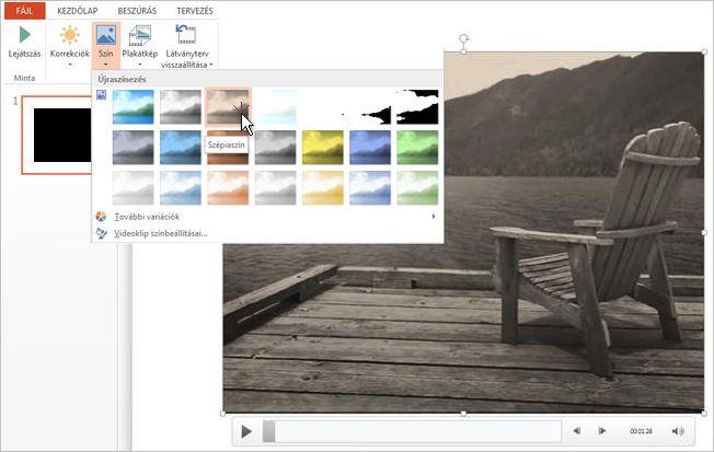 A videofelvétel színének módosítása