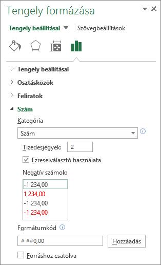 A Tengely beállításai csoport Számformátum szakasza