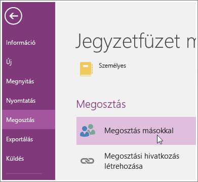 Képernyőkép a OneNote 2016 Megosztás másokkal felületéről.