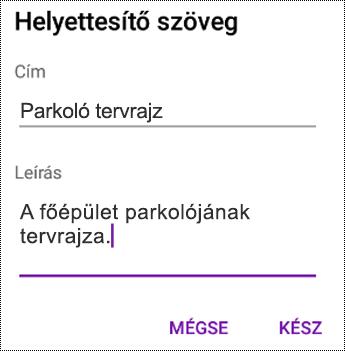 Helyettesítő szöveg hozzáadása képekhez az Android OneNote-ban