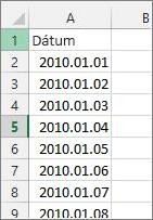 Dátumoszlop az Excelben