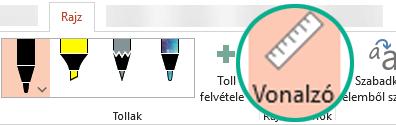 A Vonalzó gomb a PowerPoint 2016 menüszalagjának Rajz lapján található.