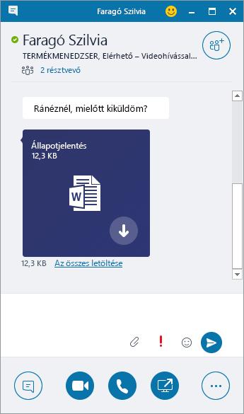 Képernyőkép egy bejövő mellékletet tartalmazó csevegőablakról