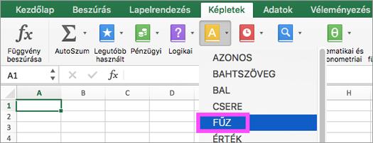 Az Excelben elérhető FŰZ és SZÖVEGÖSSZEFŰZÉS függvény
