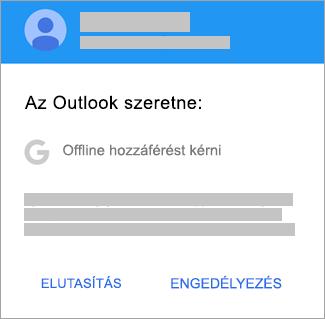 Az Engedélyezés elemre koppintva adjon az Outlooknak offline hozzáférést.