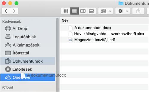A Mac Finder ablaka húzással a fájlok áthelyezéséhez