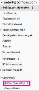 Az Outlook 2016-ban a navigációs ablak csoportok kiemelve